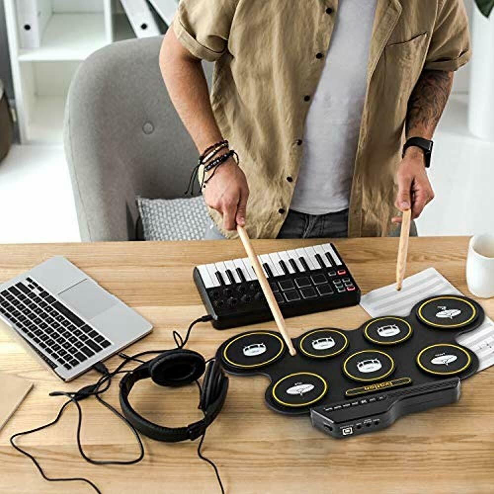 Ivation Portable Electronic Drum Pad 7 Labeled Pads 2 Foot Pedals Kids Children Beginners Digital Roll-Up Touch Sensitive Drum Practice Kit No Speakers//AAA Battery Operated