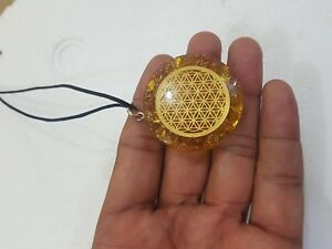 Citrine-Flower-Of-Life-Infinity-Metal-Organite-EMF-Orgone-Pendant-With-Cord