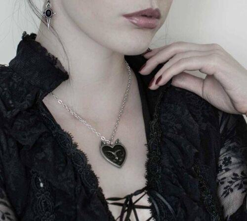 negro felina Bruja gótico corazón Alchemy Inglaterra-Amor Collar Colgante Gato