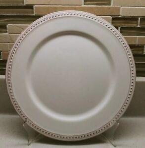 SUR-LA-TABLE-PEARL-8-1-2-034-SALAD-PLATE-EMBOSSED-BEAD-EDGE-RUSTIC-WHITE-CERAMIC