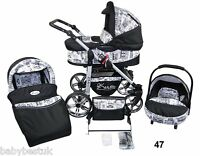 Baby Pram Pushchair Travel System With Car Seat 3in1 Or 2in1 - City Design