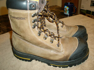 27ff206a48f Details about Men's CHINOOK TARANTULA Brown/Black Leather STEEL TOE Work  Boots/Shoes 10