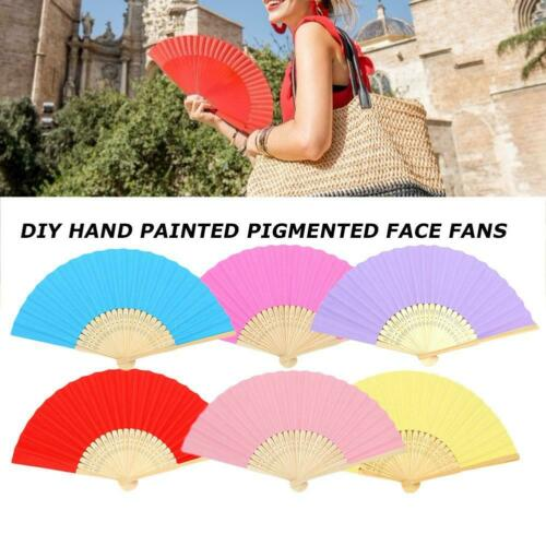DIY Paper Bamboo Folding Fan Children Hand Painting Practice Calligraphy Fans