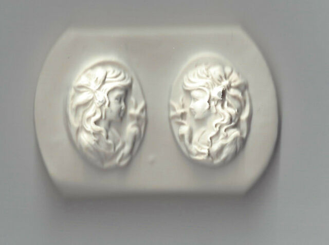 2 Cameos Lady W//Bird L /& R Handmade Polymer Clay Mold