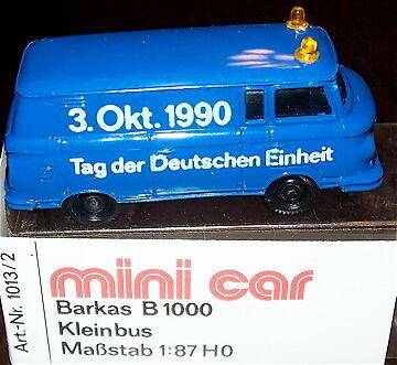 unità MINI CAR OVP 1//87 å Barkas b1000 somo 3.okt.tag D