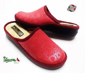 consegna gratuita classcic ampia selezione di design Dettagli su OFFERTA Pantofole ciabatte donna cucite invernali MADEinITALY  italiane rosse