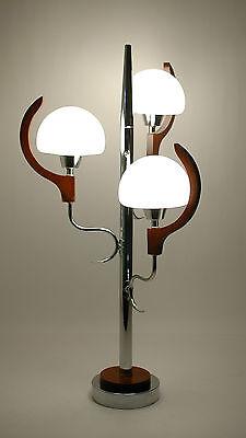 GREAT Vtg RETRO 1960s/70s DANISH Mcm SPACE Age CHROME w/Teak ATOMIC Table LAMP !