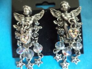 KIRKS-FOLLY-Cherub-Angel-w-Dangling-Heart-Stars-AB-Crystals-Clip-on-Earrings-NEW