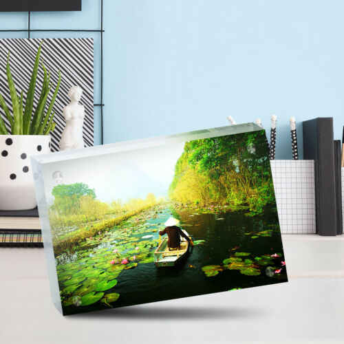 "Desk Art Office Gift #16643 Beautiful Vietnam Yen Stream Photo Block 6 x 4/"""