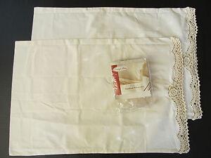 Vintage Shabby Chic Pillow Shams : 2 Vintage Home Crochet Lace Ecru Cotton Pillow Case Sham Shabby Cottage Chic NOS eBay