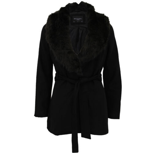 Ladies Wool Mix Jacket Brave Soul Womens Duffle Coat BELT Faux Fur Button Winter
