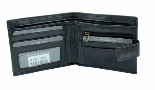 Woodbridge Uomo Vera Pelle Wallet Porta Carte di credito con zip moneta da 4003 Marsupio-Nero