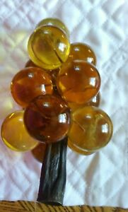 Vtg-Mid-Century-Large-Lucite-Acrylic-Grape-Cluster-Amber-Yellow-Wood-Stem-60-039-s
