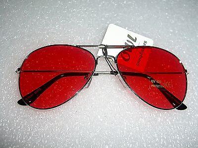 Lens Aviator Sunglasses Red Tint Silver