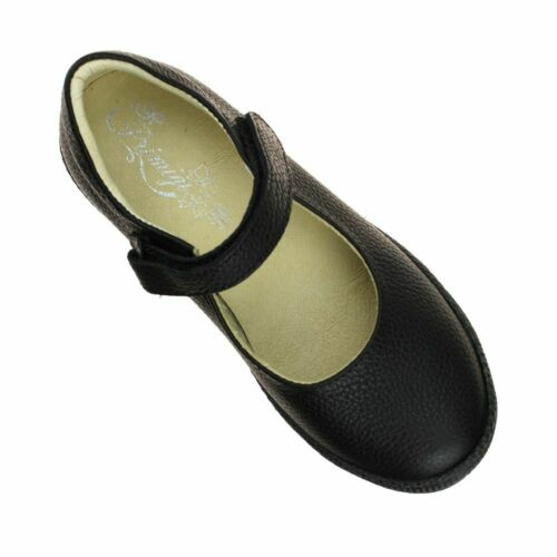 Primigi 44320 Niñas Negro Escuela Tamaño del Zapato de cuero acolchado de Bucle Gancho Niños de la UE