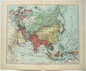 Original-1928-German-Map-of-Asia-by-Meyers-Vintage