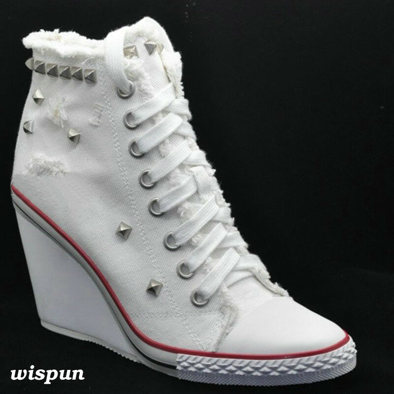 femmes  Lace Up High Top  Chaussures  High Wedge Heel Rivet Gothic Sneakers Canvas  Chaussures