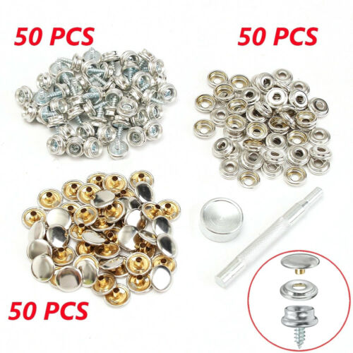 150PCS Stainless Steel Boat Marine Canvas Fabric Snap Cover Button /& Socket Kit