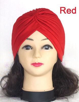 Hijab Pleated Stretchy Turban Head Hat Chemo Bandana Wrap Sleep Indian Cap WFEU