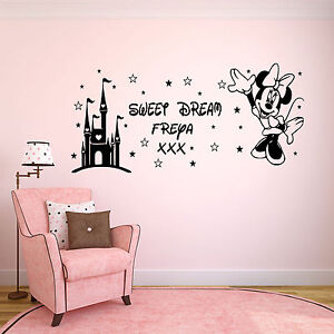 Personalised-Girls-Minnie-Mouse-Castle-Childrens-Wall-Art-Sticker-Bedroom