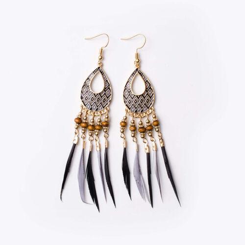 Bohemian National Style Feather Tassel Earrings Women Retro Alloy Jewelry Z
