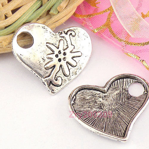 30Pcs Tibetan Silver Heart Charms Pendants 21x23mm KA4994