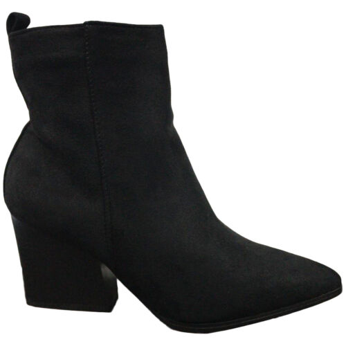 LADIES ANKLE BOOTS CASUAL OFFICE ZIP FAUX SUEDE LOW HEEL SLIP ON HIGH TOP SHOES