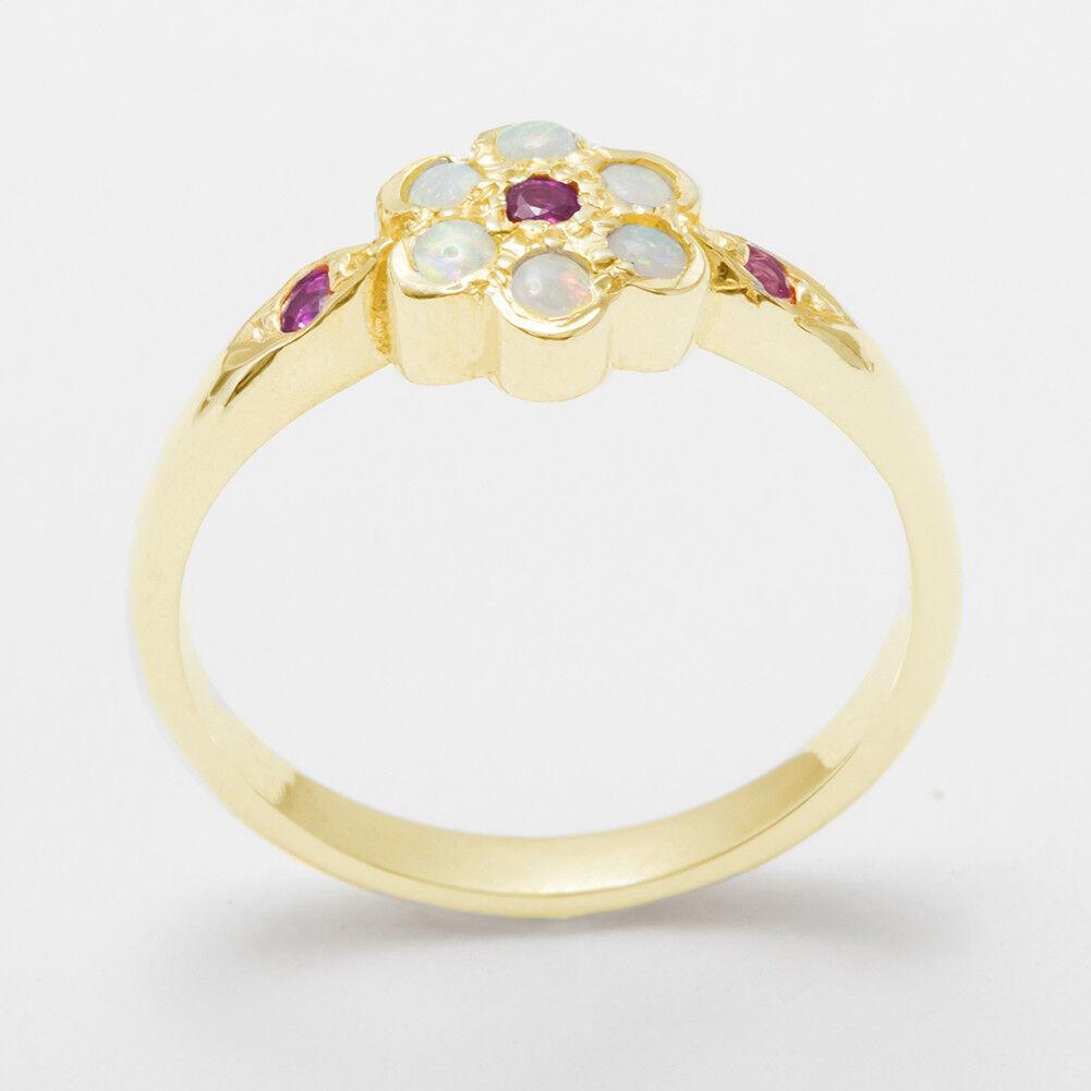 Solido 9ct Giallo oro Naturale Rubino & & & Opale Da Donna Cluster Anello-Taglie J a Z c17d18