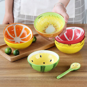 Fruits-Pattern-Ceramic-Dinner-Bowl-Rice-Soup-Spoon-Tableware-Ice-Dessert-Bowl