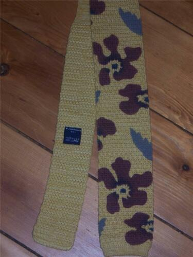 Retro 70s Cotton Knit  Sock Tie Golden Yellow with Floral Made in USA NEW