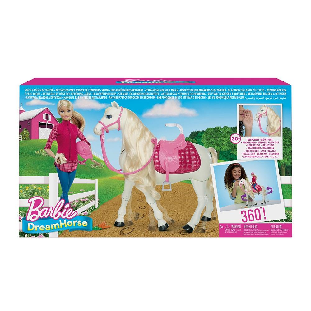 Mattel FTF02 - Barbie Puppe Mit Traumpferd Interaktiv Mit Geräuschen Bewegungen