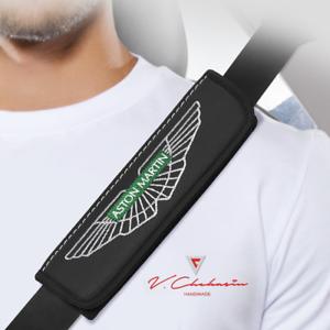 Aston-Martin-Car-Seat-Belt-Shoulder-Pads-Covers-Leather-2-pcs-Accessories