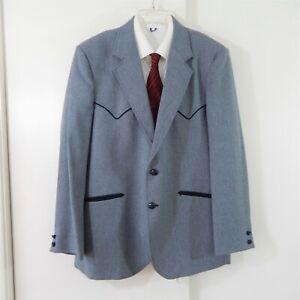 blue-CIRCLE-S-jacket-blazer-sport-coat-western-ranch-cowboy-arrow-yoke-44-44R