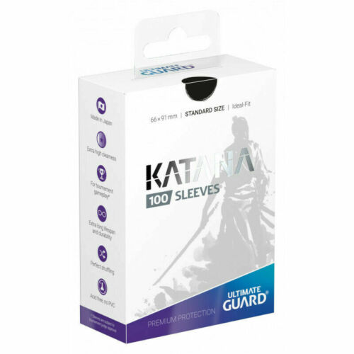 Standard Size Black Ultimate Guard Katana Card Sleeves 100 Count 66x91mm