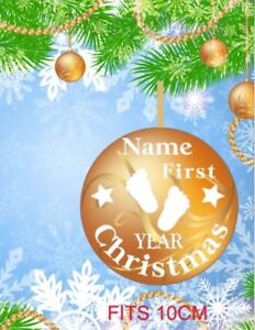 1st-Primo-Natale-Bauble-Sticker-Adesivo-personalizzato-per-10cm-Bauble-Regalo