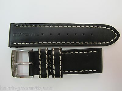 24MM HIGH GRADE BLACK LEATHER STRAP W/ THICK WHITE STITCHING & GLYCINE BUCKLE #L