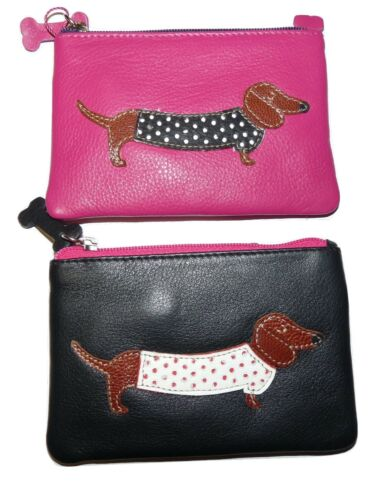 Mala Leather cute sausage dog LADIES leather Coin Purse with keychain 4133 65
