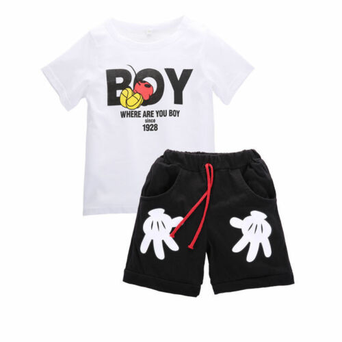 2pcs Kids Baby Boys Girls Summer Cartoon Mickey Short Sleeve Tops+Shorts Clothes
