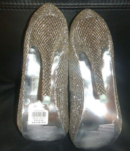 PRIMARK SIZE 345678 PEWTER GLITTER PEEP TOE COURT SHOES ***STUNNING***  NEW