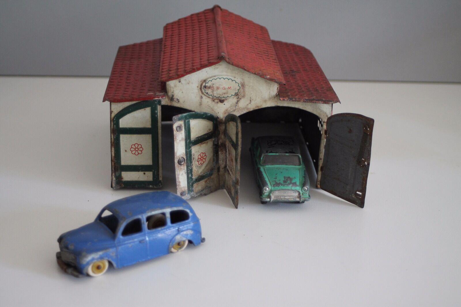 Garage  LEHMANN LEHMANN LEHMANN en tôle lithographiée jouet ancien   -  2 doubles portes  (496) 3f0a7c