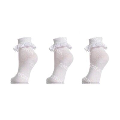1-2  years 6 Pairs Girls White Cotton rich lace top Socks 3-5 Uk