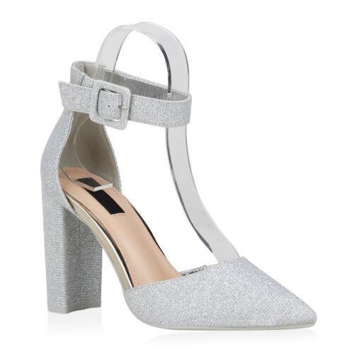 Damen High Heels Pumps Glitzer Spangenpumps Party Absatzschuhe 832919 Schuhe