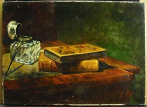 Antonio-Julien-POTTER-c1860-Natura-morta-calamaio-amp-libri-Paint-still-life