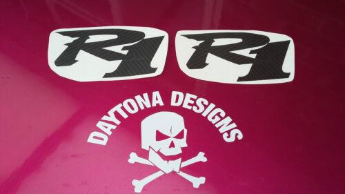 R1 PAIR CUSTOM CARBON FIBRE SEAT UNIT DECALS STICKERS GRAPHICS