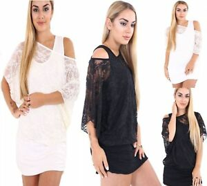 Womens Off Shoulder Top Ladies Mesh Net 2 In 1 Baggy Batwing T-Shirt Size 8-26