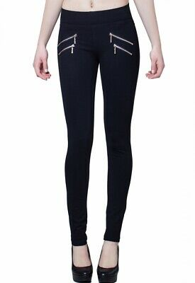 CASPAR HLE008 Women Elastic Leggings High Waist with Golden Decorative Zippers
