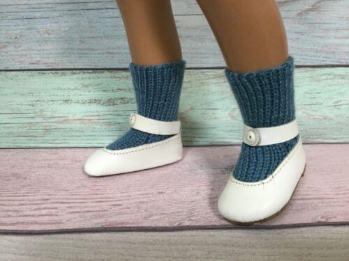 "FREE US SHIPPING SASHA DOLL hand knitted /""teal/"" socks long"