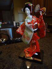"""Kyugetsu Doll  Japanese Geisha 13"""" Glass eyes. Porcelain face Plexiglas case"""