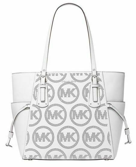 NWT💋MICHAEL KORS VOYAGER Leather Signature Tote w\ Logo In Print Optic WHITE