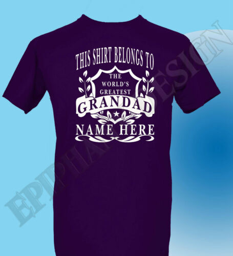 Grandad The World/'s Greatest T-Shirt Personalised Add Your Name Gift Grandad